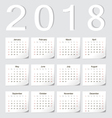 European 2018 calendar with shadow angles vector image vector image