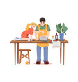 father and little daughter cooking dinner together vector image vector image