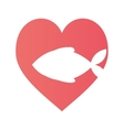 fish heart food cat pet vector image vector image