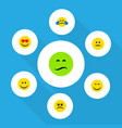 flat icon emoji set of love frown smile and vector image vector image