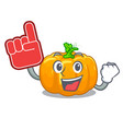 foam finger yellow pumpkin isolated in the cartoon vector image