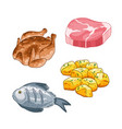 food and meal set in cartoon style vector image vector image