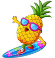 funny pineapple cartoon surfing vector image vector image