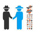 gentleman handshake icon with love bonus vector image vector image
