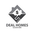 hand deal home sell logo designs simple modern vector image vector image