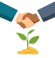 Handshake two men on the background money tree vector image vector image