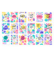 happy birthday party original design posters set vector image vector image