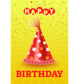 head accessory on birthday card cone cap vector image vector image