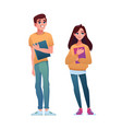 high school students isolated boy girl classmates vector image