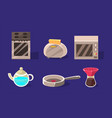 home appliances set kitchen utensil electrical vector image
