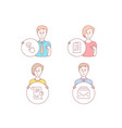 interview report and checkbox icons mail sign vector image vector image