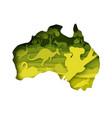 mainland australia map with wildlife vector image