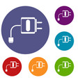 mini charger icons set vector image
