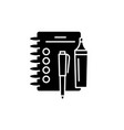 notebook black icon sign on isolated vector image vector image