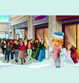 people shopping for christmas vector image