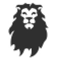 Pixel head of lion in vector image