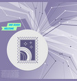 postage stamp icon on purple abstract modern vector image