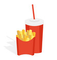 potatoes fries in a red carton vector image vector image