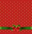 red christmas background with holly berry bow vector image