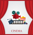 reds curtains and film object with popcorn soda vector image