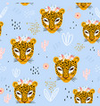 seamless pattern with cute hand drawn leopard vector image vector image