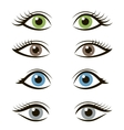 set cartoon eyes isolated on white background vector image vector image