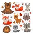 set of cute cartoon forest animals vector image