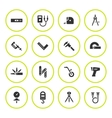set round icons measuring tools vector image vector image