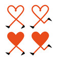 set with walking and running red hearts vector image