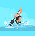 strong man in canoe vector image vector image