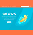 surf school landing page template with space for vector image vector image