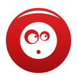surprised smile icon red vector image vector image