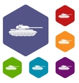 Tank icons set vector image vector image