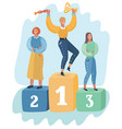 three women stand on pedestal awards ceremony vector image