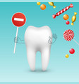 tooth against sweets vector image vector image