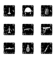 Weapons icons set grunge style vector image vector image