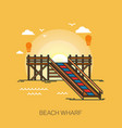 wharf or quay pier or wooden dock on beach vector image vector image