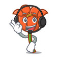 with headphone poppy flower mascot cartoon vector image