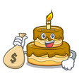 with money bag birthday cake character cartoon vector image vector image
