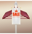 Wooden hangers with advertising label vector image vector image