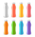 yogurt plastic bottle 3d realistic set vector image vector image