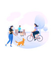young people characters relaxing at city park area vector image vector image