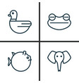 zoology icons set collection of trunked animal vector image vector image