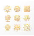 set of abstract golden signs vector image