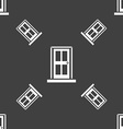 Door icon sign Seamless pattern on a gray vector image