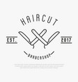 hipster logo for barber shop with cut throat razor vector image