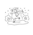 black-white sketch funny cartoon puppy vector image