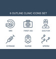 6 clinic icons vector image vector image