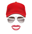 Baseball cap Glasses and lips isolated on white vector image vector image