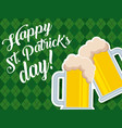 beer glasses beverage celebration happy st vector image
